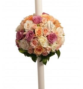 Lumanari nunta trandafiri roz trandafiri somon trandafiri albi