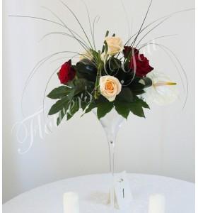 Aranjament floral nunta trandafiri anturium