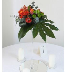 Aranjament floral nunta santini orhidee trandafiri crizantema