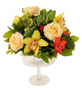 Aranjamente florale nunta trandafiri orhidee galbena