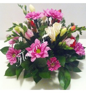 Aranjament floral nunta frezii crizantema