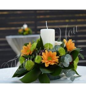 Aranjament floral nunta crizantema santini lumanare