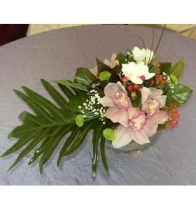 Aranjament floral nunta orhidee trandafiri santini