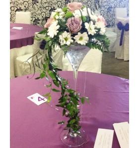 Aranjament floral nunta trandafiri crizantema santini ruscus
