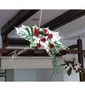Aranjamente florale nunta umbrela gerbera dendrobium