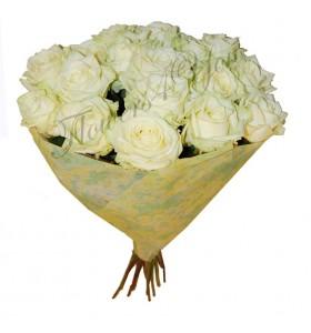 Buchet rotund trandafiri albi