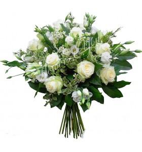 Buchet trandafiri albi lisiantus alb