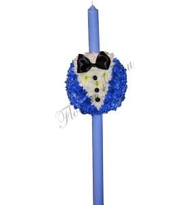 Lumanari botez crizantema albastra papion