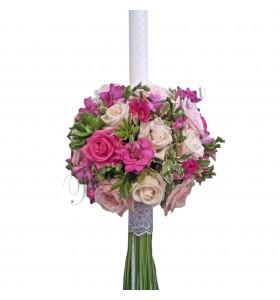 Lumanari botez trandafiri crem roz frezii cyclam