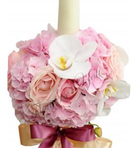 Lumanari botez hortensia roz trandafiri phalaenopsis alb
