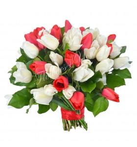 Buchet lalele albe rosii