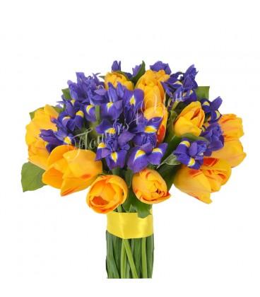 Buchet iris lalele galbene