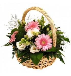 Aranjament floral frezii gerbera lisiantus