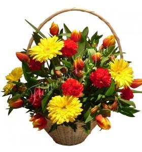 Aranjament floral gerbera lalele
